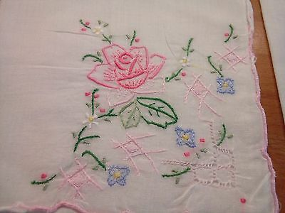 Two Beautiful Large Linen Hand Embroidered Hankerchiefs Rolled Edges