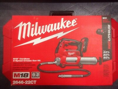 New Milwaukee 2646-22CT M18 18V Cordless 2-Speed Grease Gun Kit with 2 Batteries