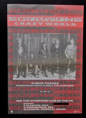 "SCORPIONS 'CRAZY WORLD'  1990 UK FULL PAGE MAGAZINE ADVERT CUTTING 10"" x 15"""