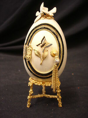 Decorative Collectors Egg White Black On Gold Plinth 13Cm Tall Lot 1 Of 5