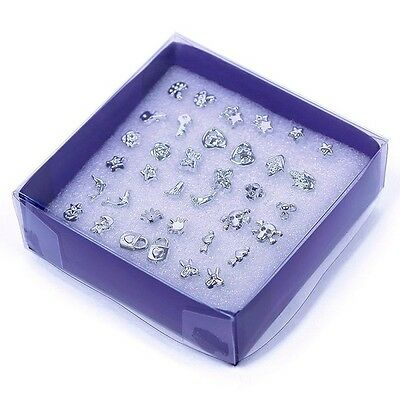 18 Pairs 925 Sterling Silver Plated Earrings Stud Set - assorted mixture