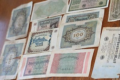 Selection of Large Denomination German Reichs BankNotes.