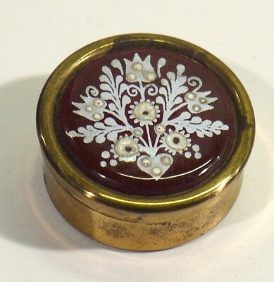 Superb Handmade Brass & Enamel Pill Box.