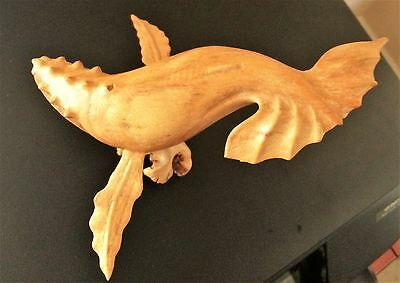 Hand Carved Wooden Humpback Whale on Base 9 inches