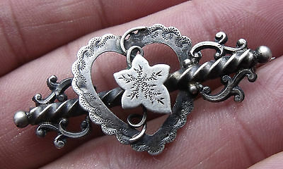 Antique Sterling Silver 1896 Sweetheart Heart Brooch.