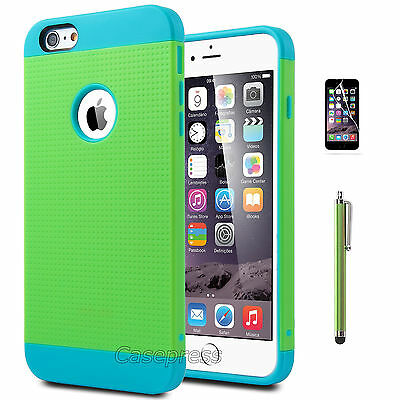 """Rugged Rubber Hard Shockproof Cover Case for Apple iPhone 6 Plus 5.5"""" Blue/Green"""