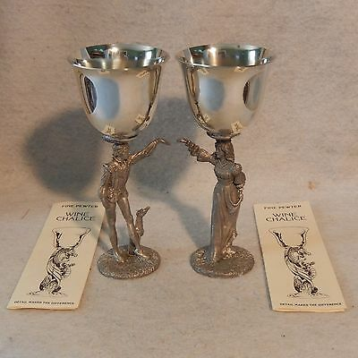 Pair2 GALLO Pewter Wine Chalice Goblet Renaissance Maiden Lady Page Boy Medieval