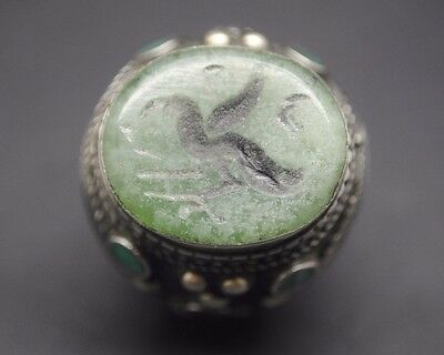 Beautiful Antique Silver Ring With Animal Seal And Stone Inserts