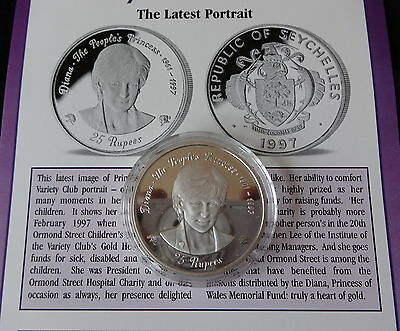1997 Silver Proof Seychelles 25 Rupees Coin Princess Diana Latest Portrait