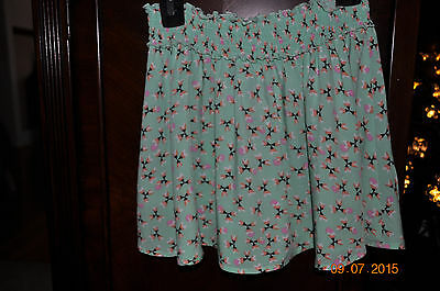 Girls Old Navy Green Floral Skirt, Size 8