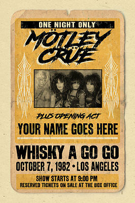 your name on a cool, personalized concert poster with Motley Crue