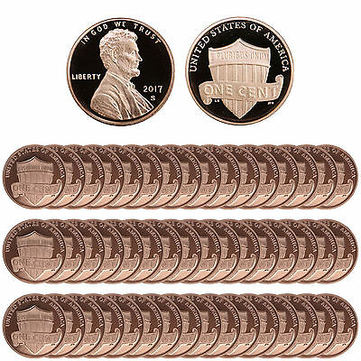 2017 S Lincoln Shield Cents Gem Deep Cameo Proof Roll Penny 50 US Coins