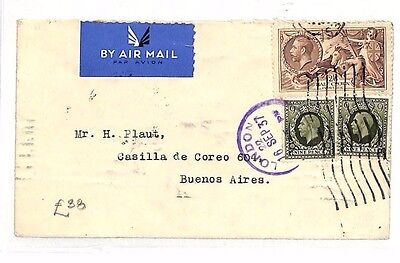 BG254 1937 GB SEAHORSE Photogravure 4s Rate Airmail Franking Cover ARGENTINA