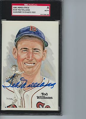 Ted Williams autographed signed 1981 Perez Steele # 104 Auto SGC
