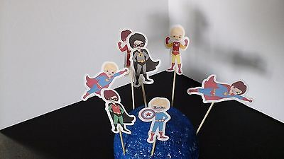 Superhero Boys cupcake toppers--Set of 12