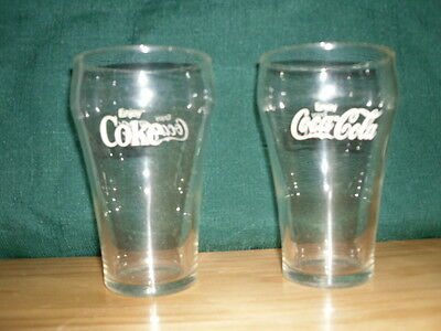 Vintage clear coke glass with white lettering - Set of 2