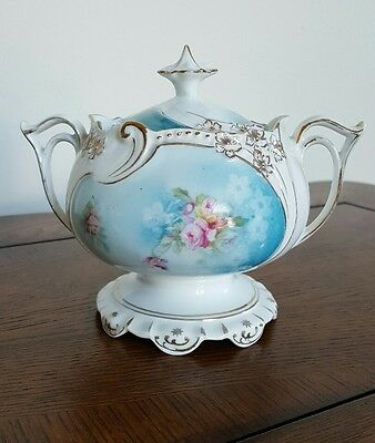 Covered Sugar Bowl- No Mark- Blue and Floral Roses