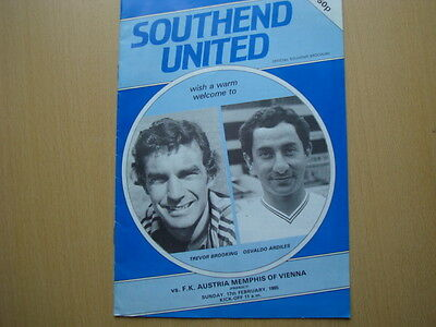 Southend United V Fk Austria Memphis Feb 1985