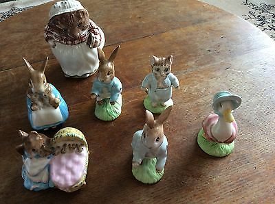 7 Beswick Beatrix Potter Figures In Perfect Condition