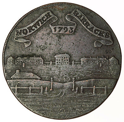 1793 Norwich Barracks Halfpenny ~ D&H47a Norfolk ~ Pro Rege Et Patria
