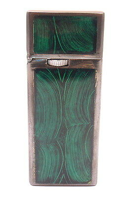 AUTHENTIC CARTIER STERLING SILVER GREEN ENAMEL LIGHTER w/BOX
