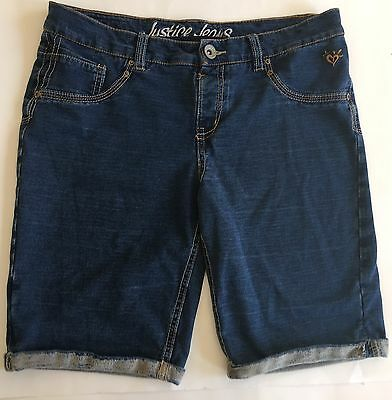 Justice Jeans Girls Bermuda Blue Soft Cotton Denim Look Shorts Plus Size 14 1/2
