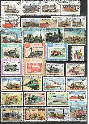 Train Stamps Worldwide stamps Topical Stamps lot 1
