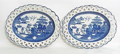 Pair Of Early 19Thc Staffordshire Pearlware 'willow Pattern' Dishes