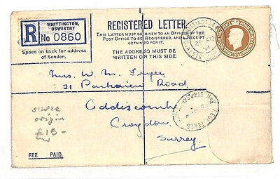 BG265 1941 GB WW2 SALOP *Whittington Oswestry* Cover REGISTERED Stationery