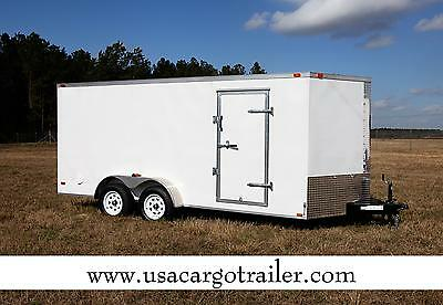 7x16 IN STOCK NOW Enclosed Trailer Cargo V Nose Motorcycle 8 Hauler Tandem CALL