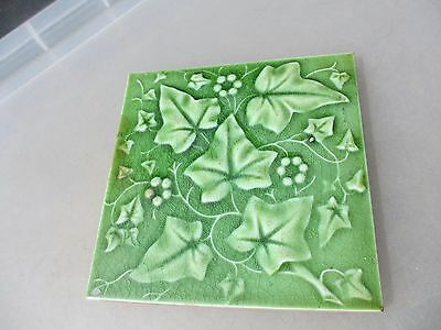 Antique Ceramic Tile Floral Art Nouveau Architectural Antique Vintage England