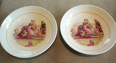 Vintage Pair Of Unusual Hand Painted China Bowls