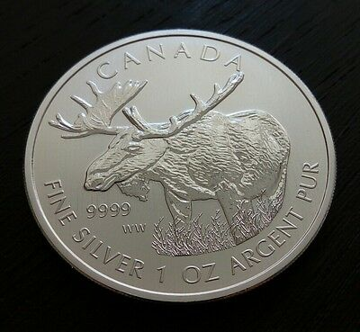 2012 Canada Moose Wild Life Series 1 Oz .9999 Silver Bullion Coin New from Tube
