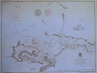 CHILE Port San Carlos - Seekarte 1840 Stahlstich ORIGINAL!!