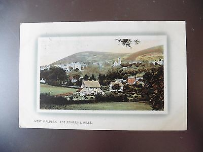 Vintage Postcard West Malvern The Church And Hills1910