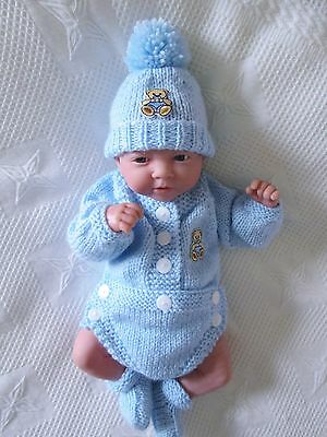 "Hand knitted dolls clothes easy change romper outfit to fit 14/16"" reborn doll"