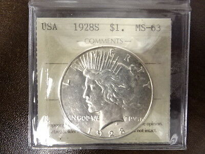 1928-S ICCS MS 63 Peace Silver Dollar - US KEY DATE