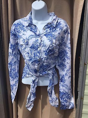 M&S Woman Blue And White Floral Blouse Shirt Size 16 Tie Up Front