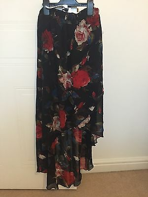 Long Mullet Skirt Black With Red Roses Size 12 - 14