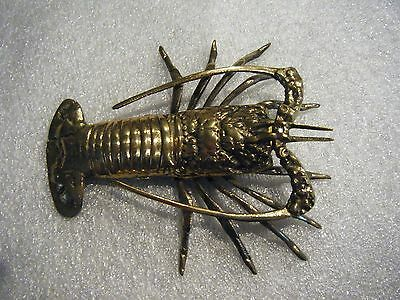 Lobster Brass Decorative Collectible Display For Sea-Food Buffet Or Wall Hanger