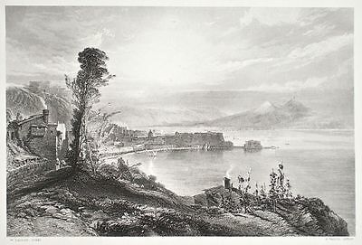 R. Wallis - The Bay of Naples: Early Morning - Stahlstich nach W. Callow - o. J.