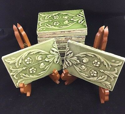 "Set of 12 Antique England Green Majolica Art Nouveau Neo Classical 6"" x 4"" Tiles"