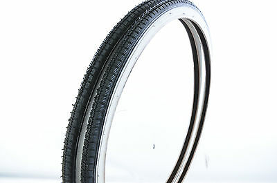 "PAIR 24 x1 3/8"" (37-540) VINTAGE JUNIOR RACING BIKE TYRES  WHITEWALL ROADSTER"