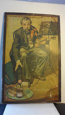 "1930's BUDWEISER ""REAL HARMONY"" VIOLINIST FRAMED SIGN by HAROLD ANDERSON"