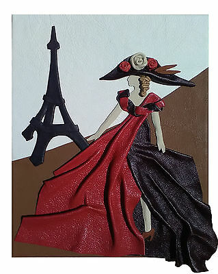 Hand made leather painting in Paris (28.8 x 35.6 cm)