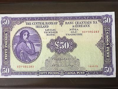 1975 Irish banknote(the central bank of ireland) 50 pound