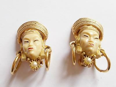 Vintage Selro Style Celluloid Face Gold Tone Pearl Asian Clip On Earrings