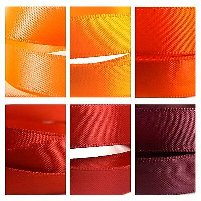 Quality Double Satin Ribbon By The Metre 1-3m, Red, Orange, Maroon, Scarlet