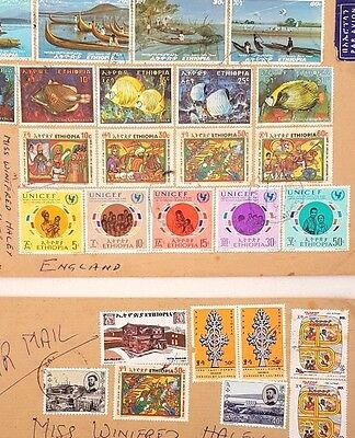 Ethiopian Stamps Sets From 1970 -1972 Still mounted on letters FREE Shipping