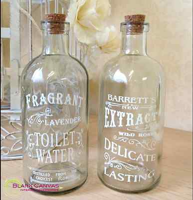 Vintage Style Shabby Chic x2 Bottles with Script - NEW
